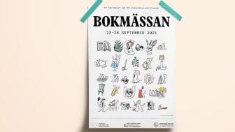 Affisch Bokmässan 2021. / Illustration: Carl Johan De Geer.