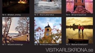 Bildkollage med de nio finalisterna som man nu kan rösta på. Bilderna finns utställda i storformat på Stortorget i Karlskrona t.o.m 11 januari.