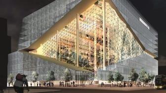Der Axel-Springer-Neubau in Berlin, entworfen vom niederländischen Stararchitekten Rem Koolhaas (Office for Metropolitan Architecture, OMA), erhält eine freitragende, dreidimensional gefaltete Atriumsfassade. copyright: OMA