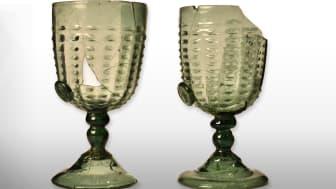 Hertig Karls originalglas från 1500-talet i Sörmlands museums samlingar.