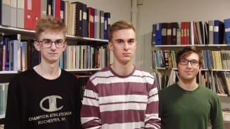 Eleverna Liam Antonsson, Albin Edegran och Lennart Küssner från Uddevalla gymnasieskola Östrabo 1 vann tävlingen Wallenbergs fysikpris 2020.