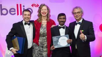 Satish 'Scotty' Kakkad collecting his 'Employee of the Year' award