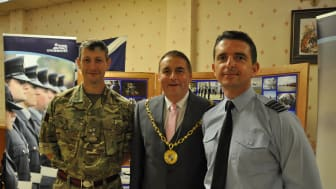 Moray Council Convener Cllr James Allen with Lt Col Jim Webster (L) of 39 Engineer, Kinloss Barracks and Gp Cpt Paul Godfrey, Base Commander RAF Lossiemouth