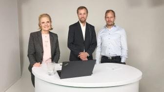 Nackademins VD, Astrid Westfeldt Corneman, Affärsutvecklingschef Jens Grönlund och IT-chef Peter Hampus under livesändningen på Branschdagarna.
