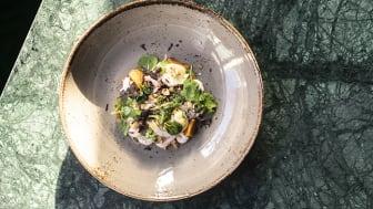 Exempel från menyn: Förrätt: Handskalade räkor, syrad fänkål, bakad gulbeta, citronmajonäs, rostad hasselnöt och sotad pujolök.