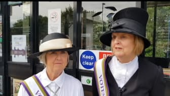 Widney Manor Suffragette display - Jan Hemlin and Jan Tilsley