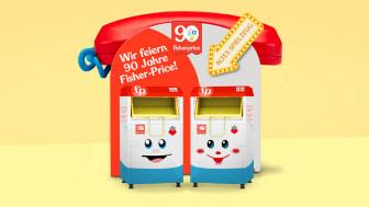 Die Container für die Spielzeugspenden sind ikonischen Fisher-Price Spielzeugen nachempfunden.
