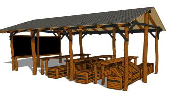 Uteklassrum med bord och bänkar