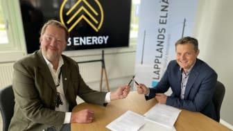 Pär Dunder, vd för W3 Energy och Tomas Ölvebring, vd för Lapplands Elnät AB.