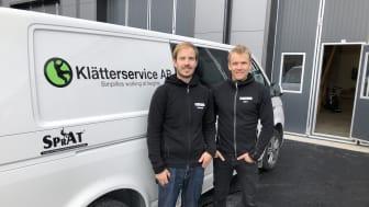 Alexander & Björn på Klätterservice kontor i Östersund.