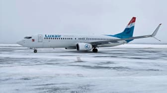Luxair har precis landat på Scandinavian Mountains Airport.