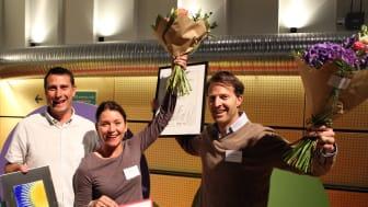 Vinnarna från Lunds kommun (Henrik Lindberg och Jonna Myrebris) och vindkraftsparken Höge väg (Niclas Palmstierna)