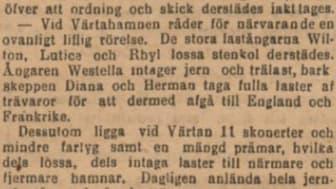 Utdrag ur tidningsartikel från Svenska Dagbladet ang. Värtahamnen