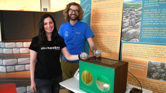 Suzanne Kobeisse, PhD researcher at Northumbria University, and Andrew Mitchell, Digital Officer at Northumberland National Parks Authority, pictured with the ARcheoBox at The Sill