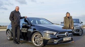 Matthew Avery, Thatcham Research and Claire Evans, What Car? with the Mercedes A-Class - winner of the What Car? Safety Award 2019