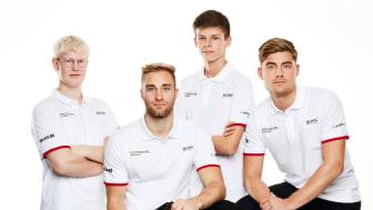 Porsche Danmark Esports Team - Frederik Kjeldgaard, Mikkel O. Pedersen, Bastian Buus og Magnus Wasteson