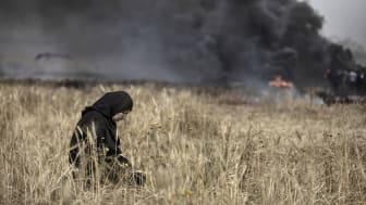 Bildjournalisten Paul Hansens bild från Gaza. Paul Hansen kommer att tala om bildens möjligheter under konferensen i Sundvall.
