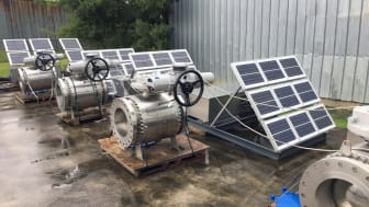 Rotork IQ3 electric actuators fitted to 12 and 16 inch ball valves with a solar panel.