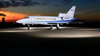 The Falcon 900B/C/EX series will be certified for the installation of Cobham's AVIATOR 300D. Credit: Chicago Jet Group