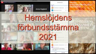 Hemslöjdens förbundsstämma 2021 genomfördes digitalt.