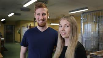Designingenjörsstudenterna Nathalie Tillaéus och Tobias Ryttman gör sitt exjobb i samverkan med Ericsindustrier i Töreboda.