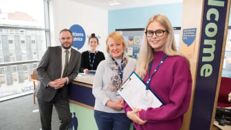 Paul Mckeown, Director of the Student Law Office at Northumbria, Law student volunteer Kelly Anderson, Shona Alexander, Chief Executive of Citizens Advice Newcastle and volunteer law student Imogen Joy.