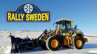 Swecon har i samarbete med Volvo CE:s fabrik i Arvika tagit fram sex specialutrustade hjullastare till årets rally. Här ser vi förra årets eventlastare.
