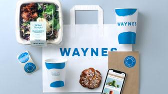 Waynes nya identitet bärs av en pigg primär blå färg, goda produkter, organiska former och en personlig touch