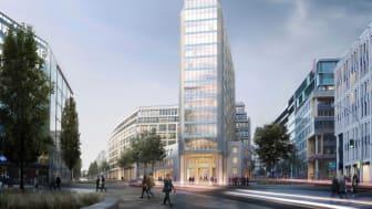 Das denkmalgeschützte Axel Springer Hochhaus und der angrenzende Neubau bieten insgesamt ca. 60.000 Quadratmeter Bruttogeschossfläche (Copyright: MOMENI Gruppe / gmp architekten)