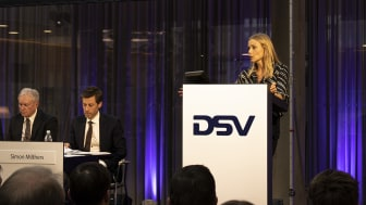 New member of the Board of Directors, Malou Aamund, explained her background and fit with DSV at the Annual General Meeting