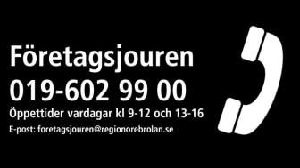 Region Örebro Läns Företagsjour: 019-602 99 00.