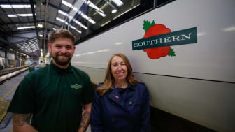 Southern and Gatwick Express Managing Director Angie Doll launched the commemorative train from the Selhurst depot, pictured with Service Engineer Lee Paine - MORE IMAGES AVAILABLE TO DOWNLOAD BELOW