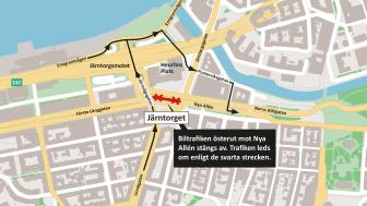 Biltrafik vid Järntorget leds om.png