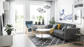 Illustration av interiör, vardagsrum, BoKlok-lägenhet 3 rok, 2021.