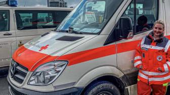 Annika Horn bei ihrem Einsatz im Flutkatastrophen-Gebiet in Rheinland-Pfalz.