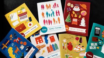 Kursmaterialet är uppdelat på tolv teman och syftet är att deltagarna genom att lära sig om det svenska samhället får språket på köpet.