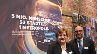 Karola Geiß-Netthöfel (Regionaldirektorin RVR) und Axel Biermann (Geschäftsführer RTG) auf der ITB 2018 / © Ruhr Tourismus GmbH / Annika Klein