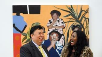 Mr Wee Teng Woon congratulates 2017 Woon Prize winner Joy Labinjo