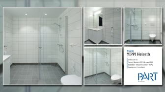 Part levererar 62 badrum till projektet YIPPI Høiseth i Trondheim.