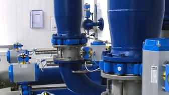 Rotork rack & pinion fluid power actuators at a municipal waterworks plant in Schwebberg, used on butterfly valves to control fluid and distribution of the water below the pump station.