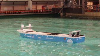Yara Birkeland er verdens første førerløse og hel-elektriske containerskip.           Illustrasjon: Yara