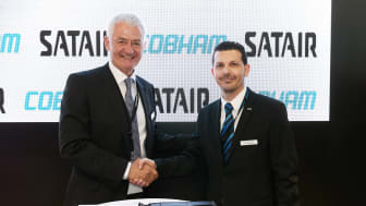 Rene Frandsen, Head of Region and Sales and Support Asia Pacific for Satair (left) and Stéphane Lagarde, Director Customer support and Services, Cobham Aerospace Communications