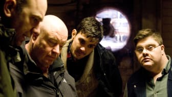 From left to right: Sanctuary's Director of Photography Russell Gleeson, Film Director and Northumbria senior lecturer Len Collin and actors Robert Doherty and Kieran Coppinger.