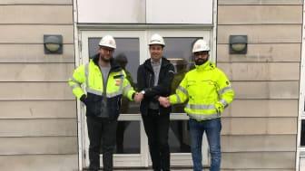 Från vänster: Andreas Berg Rasmussen, Projektingenjör Barslund, Ted Scherstein Regionchef Lambertsson, Martin Allawi, Projektingenjör och TA-ansvarig på Barlsund