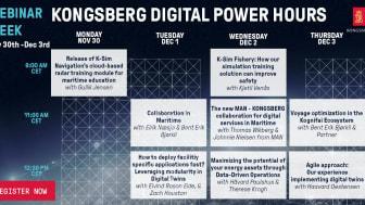 Kongsberg Digital will host a webinar week, with a series of Power Hours on digital maritime technologies