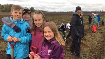 Media är välkommen att ta del av trädplanteringsdagarna och möta eleverna. Bild på elever och lärare Bårslövs skola under trädplanteringen 2017.