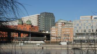"""Tegnérs Torn i Stockholm, takskiffer på fasad """"Nordskiffer Grön"""""""
