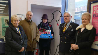Honouring railway workers' First World War contributions at Potters Bar station: (left to right) Joan Wright of the Royal British legion, GTR's Stuart Cheshire,  and Pat Budd, Joe Vaughan and Anne Moss of the British Legion.