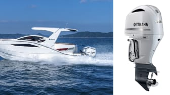 意匠を一新した「SR330」(写真左)とV6型4.2L 4ストローク船外機(ホワイトカラー仕様)