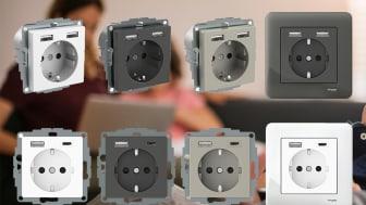 Exxact-stikkontaktene med USB-uttak leveres i tre klassiske Exxact farger og kan kombineres med ulike Exxact-rammer av type Primo, Design eller Solid (bestilles ekstra) for å matche enhver type interiør og prosjekttype.